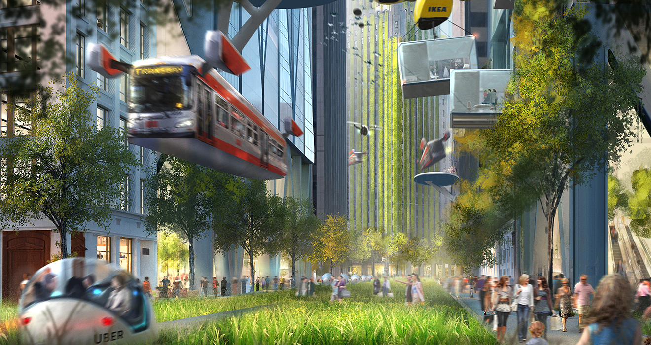 Concept art from the design communications team at Foster + Partners